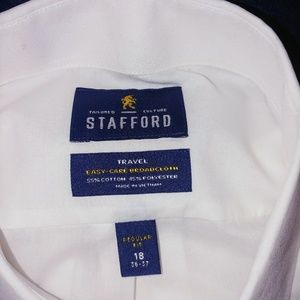 Stafford Shirts - Stafford Travel Dress Shirt 18 x 36